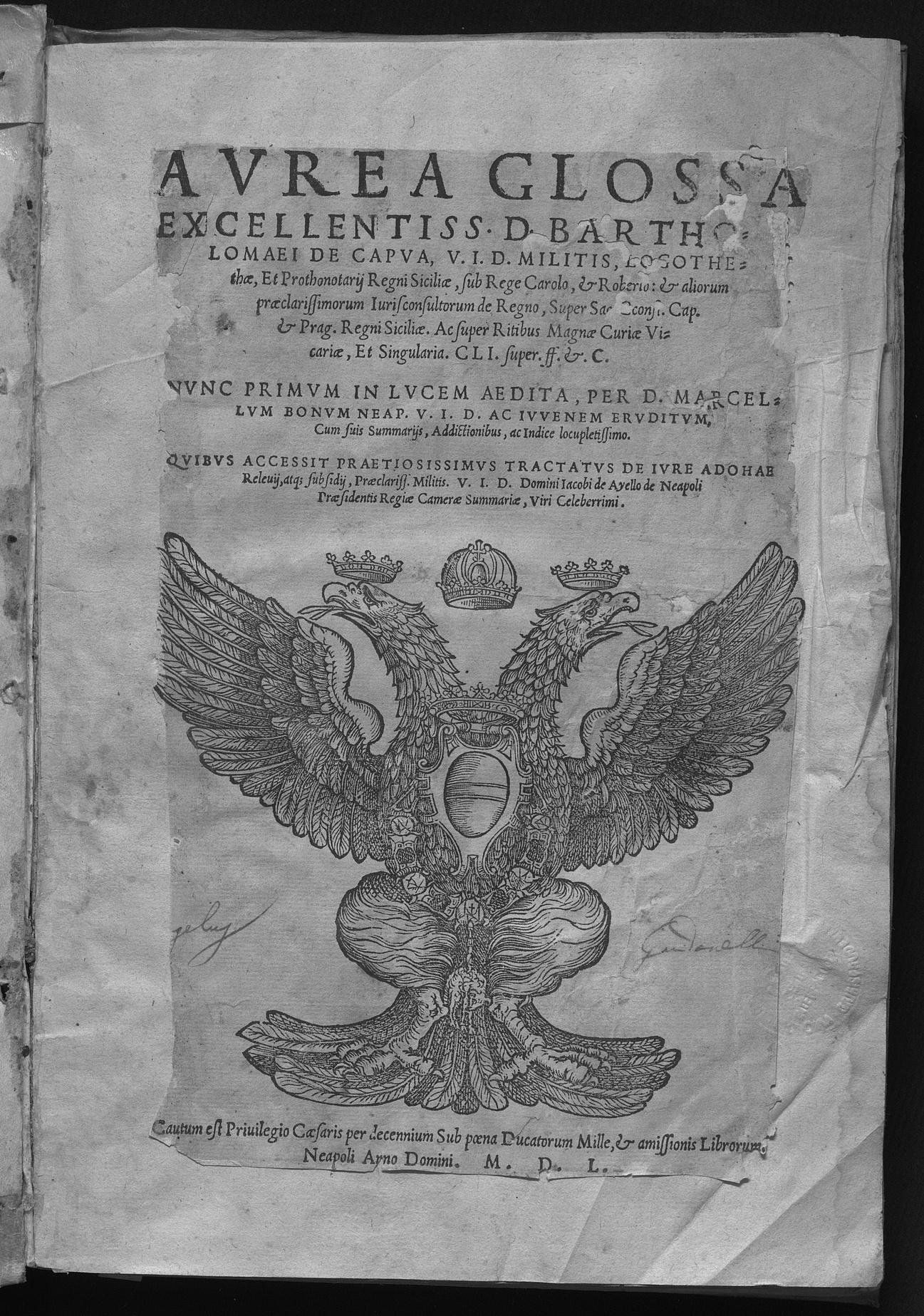 Fondo antico presso la Sezione storica della Biblioteca di Economia e Giurisprudenza