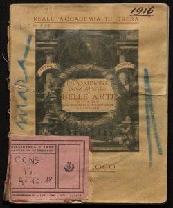 Esposizione nazionale di belle arti, autunno 1916 catalogo