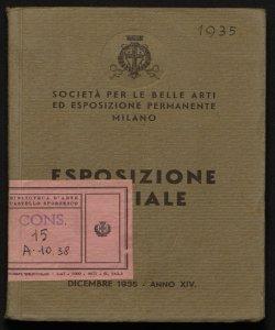Esposizione sociale dicembre 1935 Società per le belle arti ed esposizione permanente, Milano