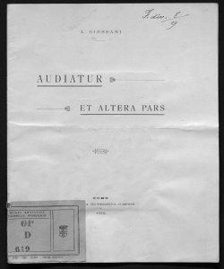 Audiatur et altera pars A. Giussani