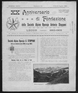 20. anniversario di fondazione della Società alpina operaja Antonio Stoppa ni Lecco, 1883-1903