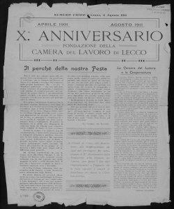 10. anniversario fondazione della Camera del lavoro di Lecco aprile 1901 - agosto 1911
