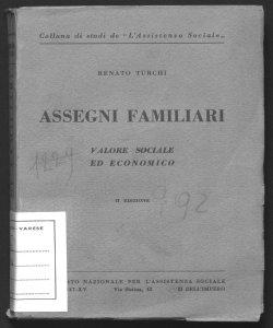 Assegni familiari valore sociale ed economico Renato Turchi