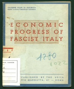 Economic progress of fascist Italy Giuseppe Volpi di Misurata