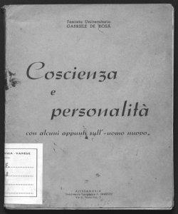 Coscienza e personalità con alcuni appunti sull'uomo nuovo Gabriele De Rosa
