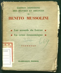 8: Les accords du Latran, la crise économique  de Benito Mussolini traduction de Maria Croci