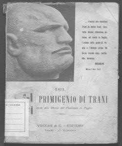 Del fascio primigenio di Trani contributo alla storia del fascismo in Puglia M. A. Gioia