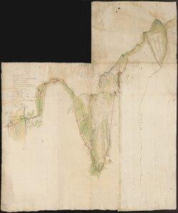 [Planimetria dei confini tra il territorio bergamasco e milanese nel Comune di Valsecca]