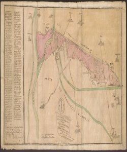 [Mappa dei confini fra il territorio bergamasco e quello milanese compresi tra Capriate e Treviglio] Bernardo Arzetti, agrimensore