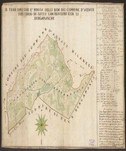 Il vero disegno è misura delli beni del Commune d'Aquate territorio di Lecco controverso con li bergamaschi