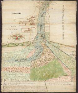 Disegno del Fiume Brembo e [suddivisione dei terreni ] posti in Circhietta [Comune di Brembate di Sotto]