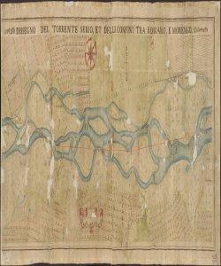 Dissegno del Torrente Serio, et delli confini tra Romano, e Morengo