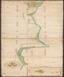[Confine tra i Comuni di Verdello Maggiore e Verdello Minore disegnato da] Bernar:ro Sarzetti Nodaro et Agrimensore pub.co di Berg.mo