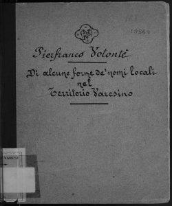 Di alcune forme de' nomi locali nel territorio varesino