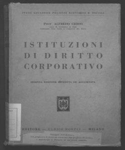 Istituzioni di diritto corporativo Alfredo Cioffi
