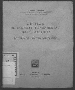 Critica dei concetti fondamentali dell'economia dottrina del profitto corporativo Toselli Colonna