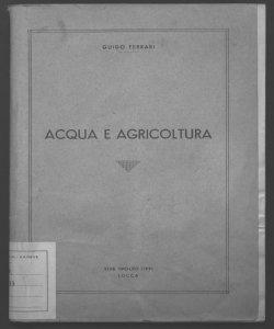 Acqua e agricoltura Guido Ferrari