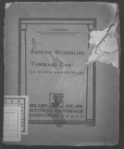 Benito Mussolini e Tommaso Carlyle La nuova aristocrazia