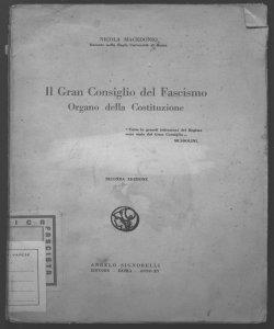 Il Gran Consiglio del Fascismo, organo della Costituzione Nicola Macedonio
