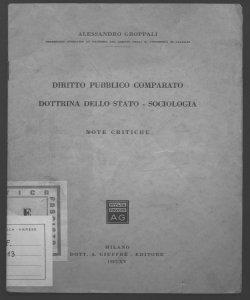 Diritto pubblico comparato, dottrina dello Stato, sociologia note critiche Alessandro Groppali