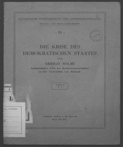 Die krise des demokratischen staates Von Arrigo Solmi