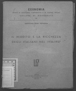 Il reddito e la ricchezza degli italiani nel 1936-1937 Agostino Degli Espinosa
