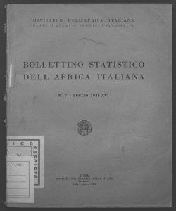 Bollettino statistico dell'Africa italiana Ministero dell'Africa italiana, Ufficio studi, Servizio statistico