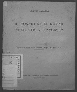 Il concetto di razza nell'etica fascista Arturo Sabatini