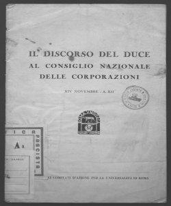 Il discorso del duce al consiglio nazionale delle corporazioni XIV novembre - A. XII