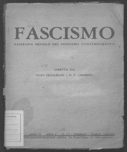 Fascismo rassegna mensile del pensiero contemporaneo