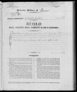 Ruoli matricolari 1846 -1899 (relativi ai nati negli ex distretti di Como e Lecco)