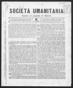 Accenni al progetto di statuto / Società umanitaria