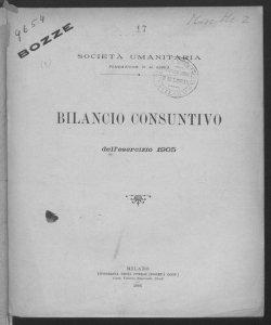 Bilancio consuntivo dell'esercizio 1905 / Società Umanitaria