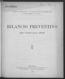 Bilancio preventivo per l'esercizio 1909 / Società Umanitaria