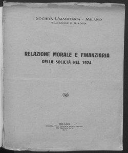 Relazione morale e finanziaria della Società nel 1924