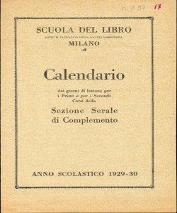 Calendario 1929.Scuola Del Libro Calendario Dei Giorni Di Lezione Per I