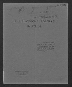 Le Biblioteche popolari in Italia: Relazione al 1. Congresso per le opere di Educazione Popolare / Ettore Fabietti