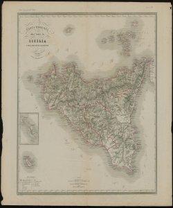 Carta moderna dell'isola di Sicilia e delle isole minori circonvicine G. Maina e V. Stanghi inc. G Pozzi scrisse