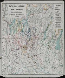 Carta della Lombardia e della provincia di Novara (Piemonte): Coi principali impianti e condutture elettriche primarie