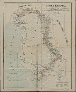 Carte d'ensemble des frontières de l'Albanie: dressée par le soins de la Commission Internationale de Delimitation dessiné par le Service geographique serbe-croate-slovene de Belgrade