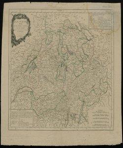 La Suisse divisée en ses treize cantons et ses alliés projettée et assujettée aux observations astronomiques par Mr. Bonne; par P. Santini