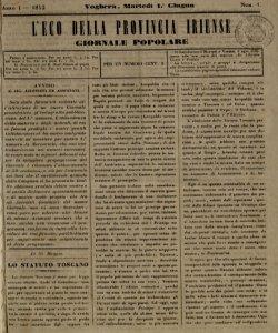 L'eco della Provincia Iriense : giornale popolare. A. 1, n. 1 (1 giu. 1852) - a. 1, n. 103 (3 giu. 1853)