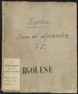 Domine ad adjuvandum | Con | Violini, Oboe, Trombe, e Viole | Del Sig.r Giovan Battista Pergolese