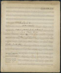 Concerto in D for the Violoncello composed exprexly for and dedicated to Signor Alfredo Piatti : London 20 Nov 1866 / by Arthur Sullivan