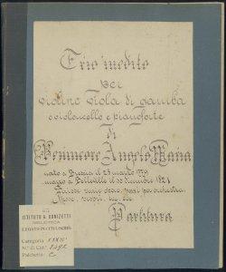 Trio inedito per violino viola di gamba o violoncello e pianoforte / di Benincore Angelo Maria