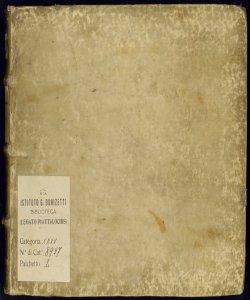 Spartito d'Inni a quattro e cinque | Di Giovanni Pierluigi Palestrina | Fatto da Prete Giovammaria Casini | E copiato da Cosimo Scuffi suo Copista