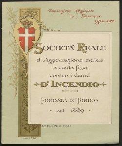 La Società reale di assicurazione mutua a quota fissa contro i danni d'incendio fondata a Torino nell'anno 1829 : 1891