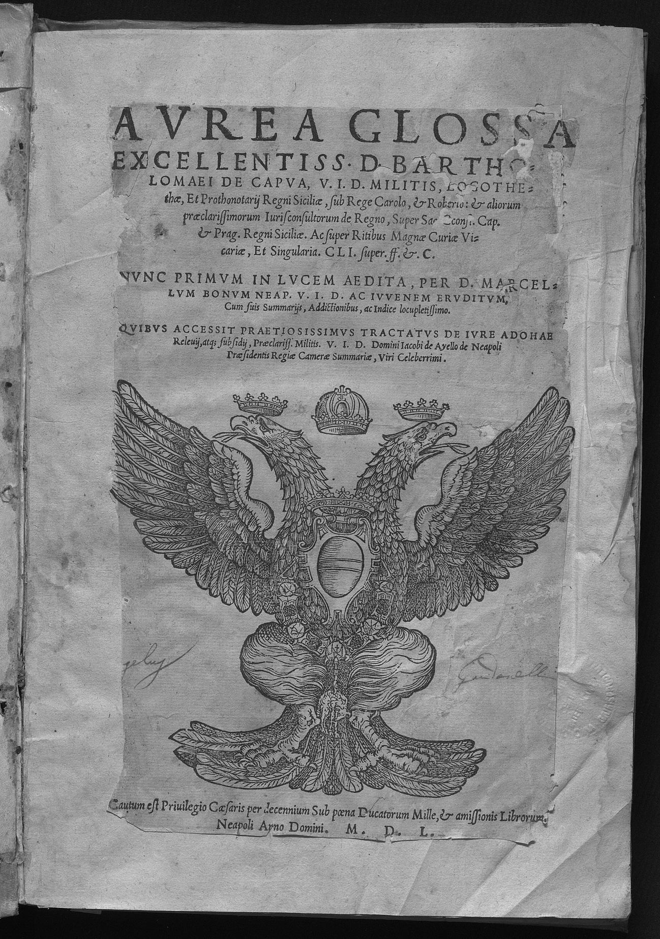Aurea glossa excellentiss. D. Bartholomaei de Capua